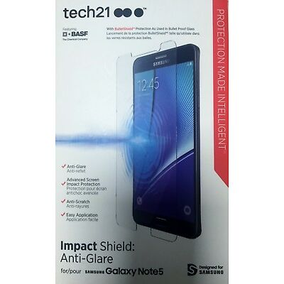 New OEM Tech21 Samsung Galaxy Note 5 Impact Shield Anti-Glare Screen Protector