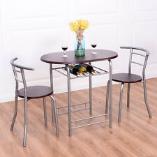 3 PCS Bistro Dining Set Table and 2 Chairs Kitchen Pub Home Furniture Restaurant
