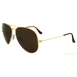 d01dfcf7fbe Ray-Ban Sunglasses Aviator 3025 001 57 Gold Brown Polarized Large ...