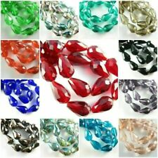 """28.5/"""" Strand 10mm x 7 Faceted Teardrop CRYSTAL CLEAR Czech Glass Beads"""