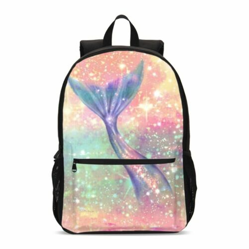 Glitter Mermaid Tail Girl Backpack Insulated Lunch Box Shoulder Bag Pen Case Lot