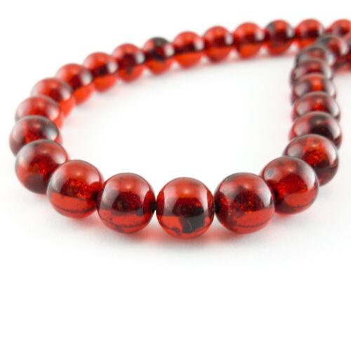 Greek Kompoloi 33 Beads 12 mm Red Koboloi Worry Bead Handmade Round Pieces Amber