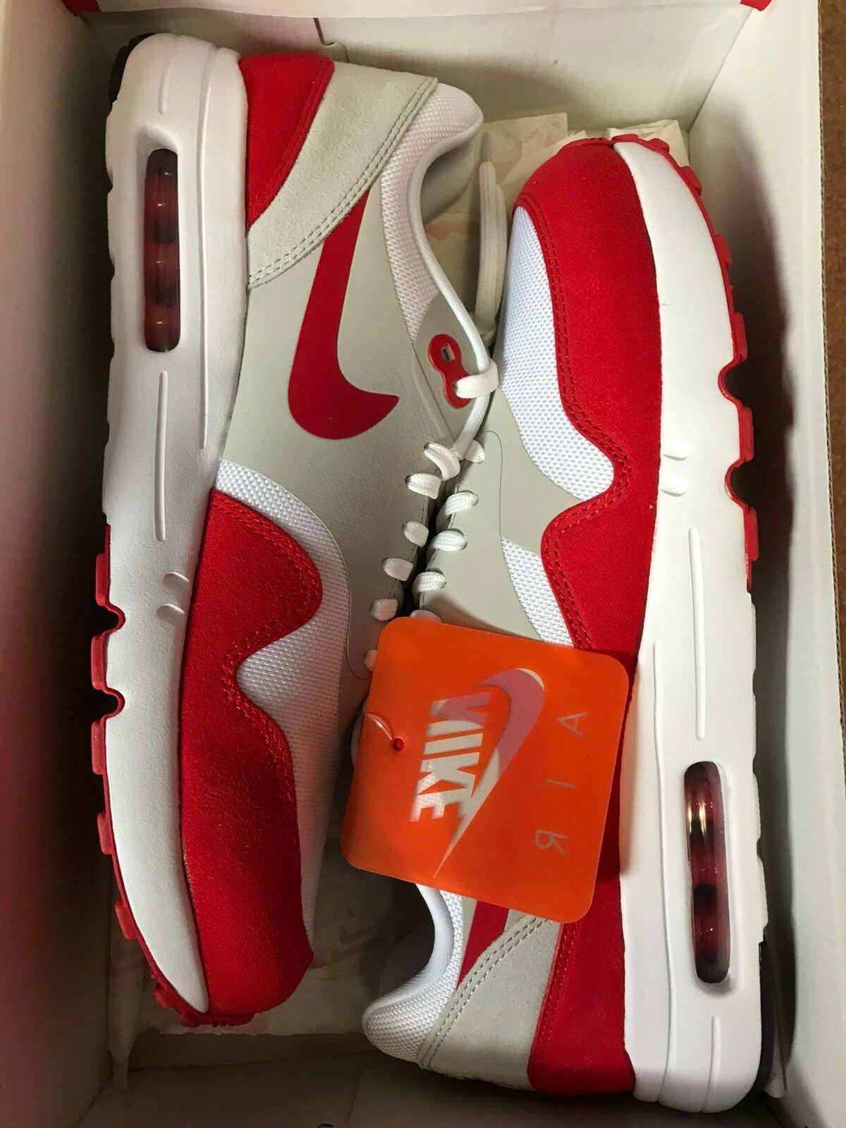 NIKE AIR MAX 1 AM ONE 30TH ANNIVERSARY 908375-103 IN HAND WHITE RED DS SZ: 9