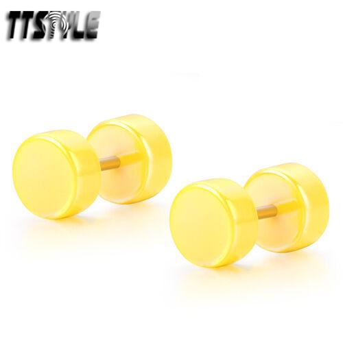 TTstyle 8mm UV Acrylic Fake Cheater Ear Plug A Paor Choose Colour NEW