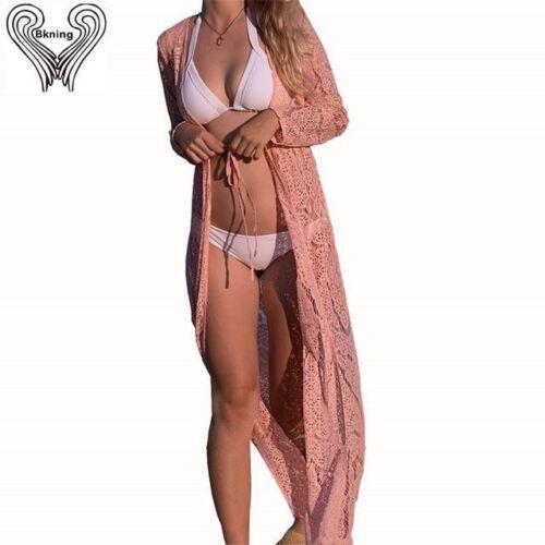 Beach Cover Up Long Dress Women Bikini Long Sleeve Cover Up Swimwear Cover Ups S