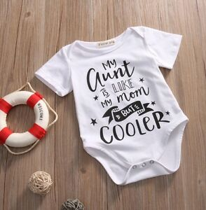 94416add18e03 Details about Slogan Cool Aunt Auntie Babygrow Playsuit Popper Baby Girl  Boy Infant Clothes