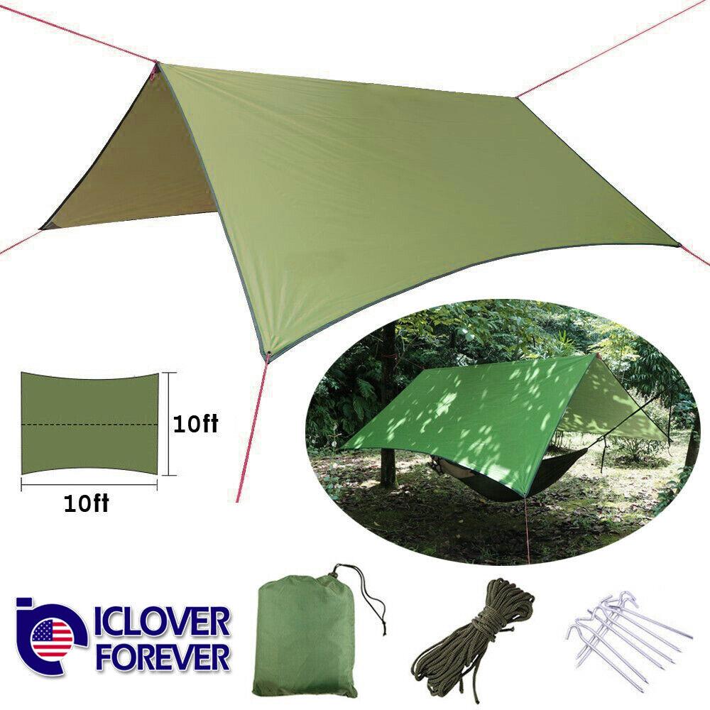 Camping Tent Tarp Sunshade Shelter Awning Mat Waterproof Hammock Cover