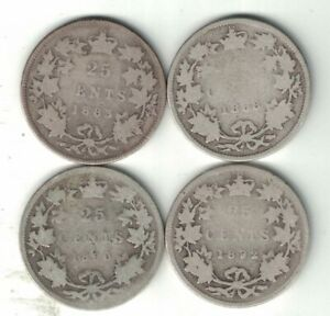 4-X-CANADA-25-CENT-QUARTERS-VICTORIA-STERLING-SILVER-COIN-1883H-1888-1890H-1892