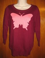 Jcp Misses' Small 3/4 Sleeve Sweater (maroon/pink W/ Butterfly) W/ Tags
