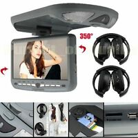 9'' Overhead Flip Down Car DVD Player Game TV Monitor Roof Mount+2×Headphones UK