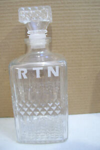 Vintage-Wine-Decanter-Clear-Glass-Bottle-Liquor-Rum-Whiskey-R-T-N-9-034-Tall-Empty