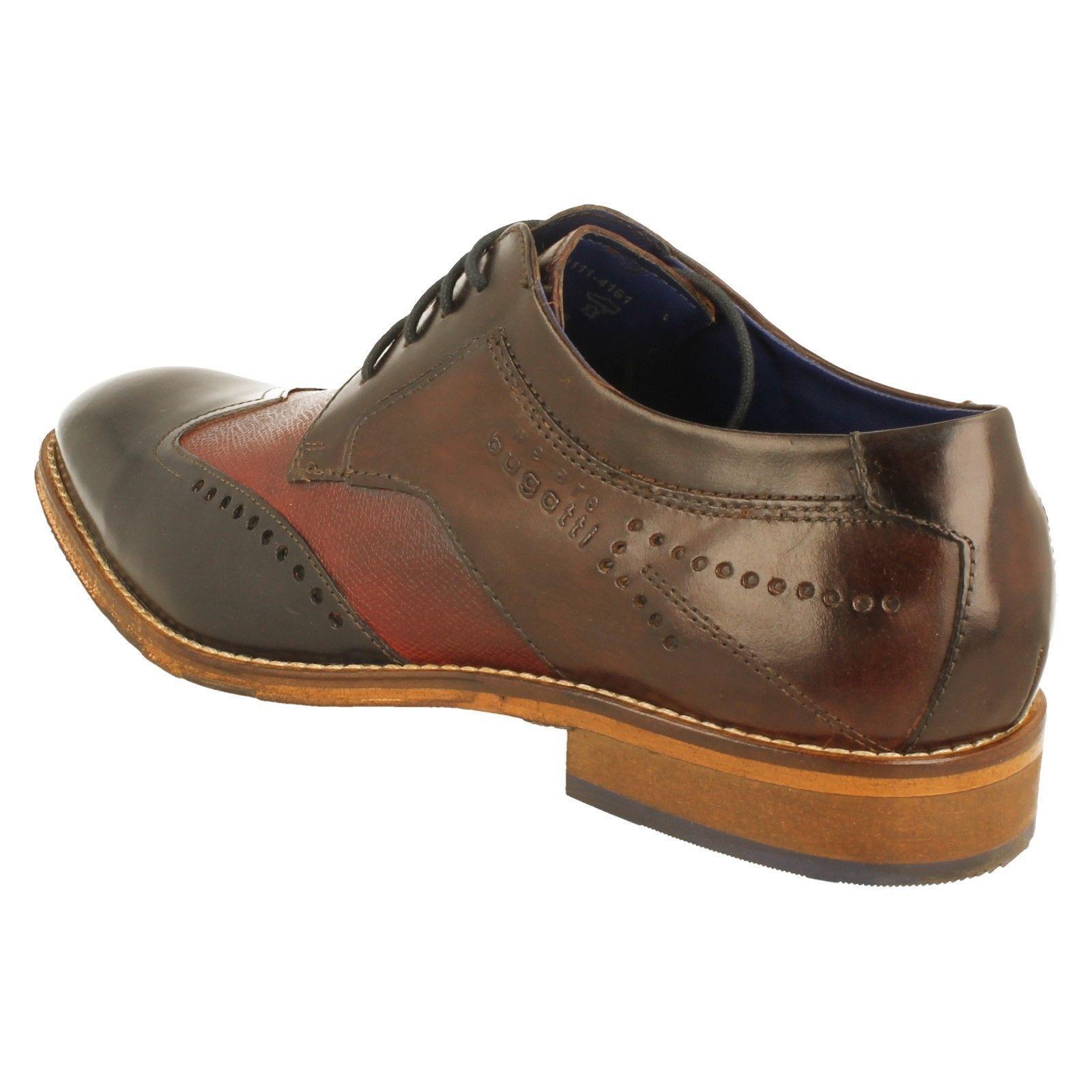 Uomo Formal Bugatti Dark Braun/Dark Blau Lace Up Leder Formal Uomo Smart Schuhes 312-52901 f2f36d