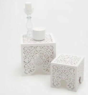 Zara Home Wooden Openwork Side Table Nest 2 Set Morrocan