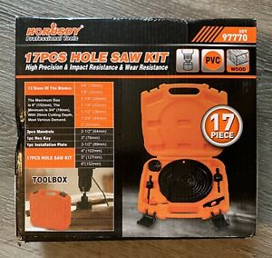 "Wood Plywood Drywall PVC 17 Pcs Hole Saw Kit Saw Blades 6/"" - 3//4/"" 152mm 19mm"