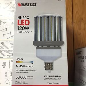 Details about Satco S29397 - 120W/LED/HID/5000K/100-277V S9397 HID  Replacement LED Light Bulb