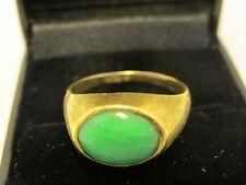 Antique estate  18k gold chinese jade ring