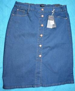 AUTOGRAPH-Mid-DENIM-Skirt-Size-18-NEW-STRETCH-rrp-49-99-Button-Front-Elastic-Wst