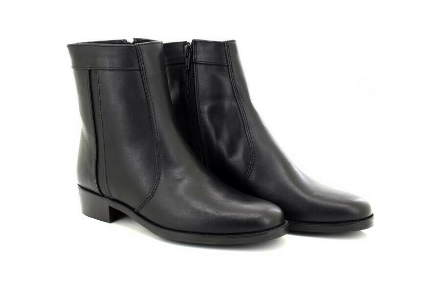 Scimitar M351 Plain Welt Fashion Leather Side Zip Ankle Boots Mid Heel
