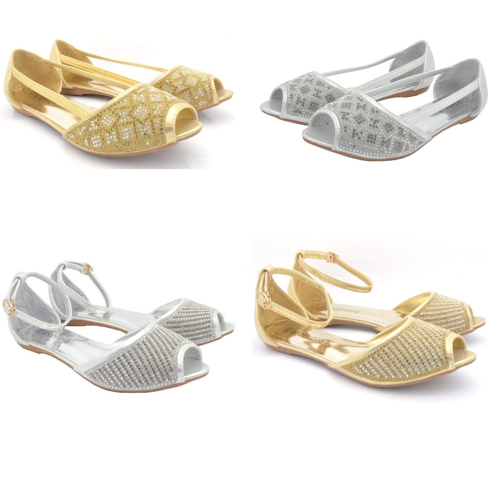 Women's Ladies Flat Diamante Diamante Flat Bridal Wedding Sandals Peep Toe Party Shoes Size fb5f49