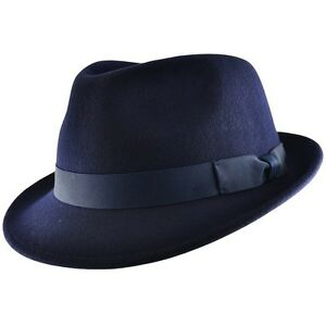 Image is loading Handmade-Crushable-100-Felt-Wool-Trilby-Hat-Navy- dd668b5dafa