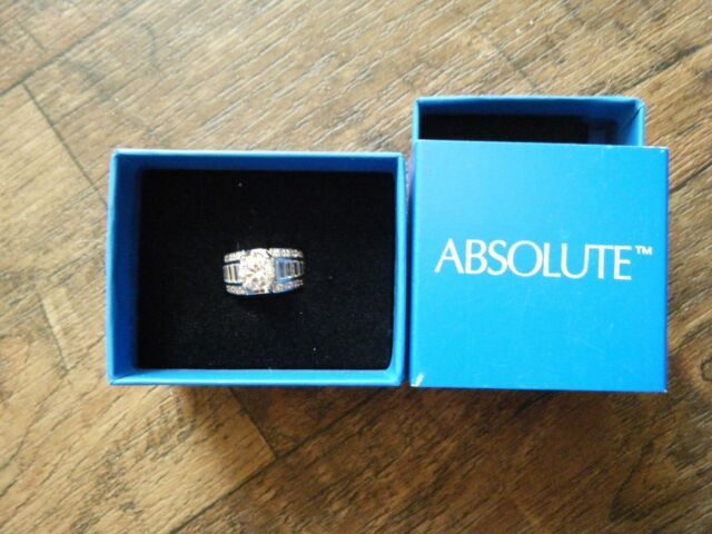 NIB ABSOLUTE 4.22CT Cubic Zirconia Sterling Silver Engagement Ring SIZE 5 HSN