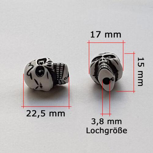 5//10 Grande Skull Beads Blanc großloch Perles Acrylique Perle Crâne 22,5 x 17 mm ☠