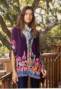 JOHNNY-WAS-Cupra-ARAXI-Embroidered-TUNIC-V-Neck-BLOUSE-Top-S-258