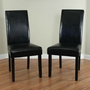 Black leather dining room chairs set of 2 parson high for Leather parsons dining chair