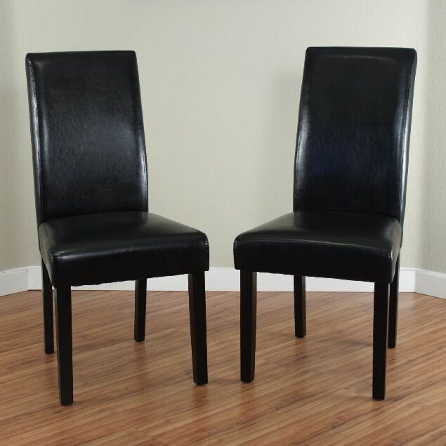 Black Leather Dining Room Chairs (Set of 2) Parson High Back Chair  Furniture NEW