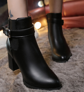 Womens block high-heeled pointed toe buckle side zipper ankle boots shoes