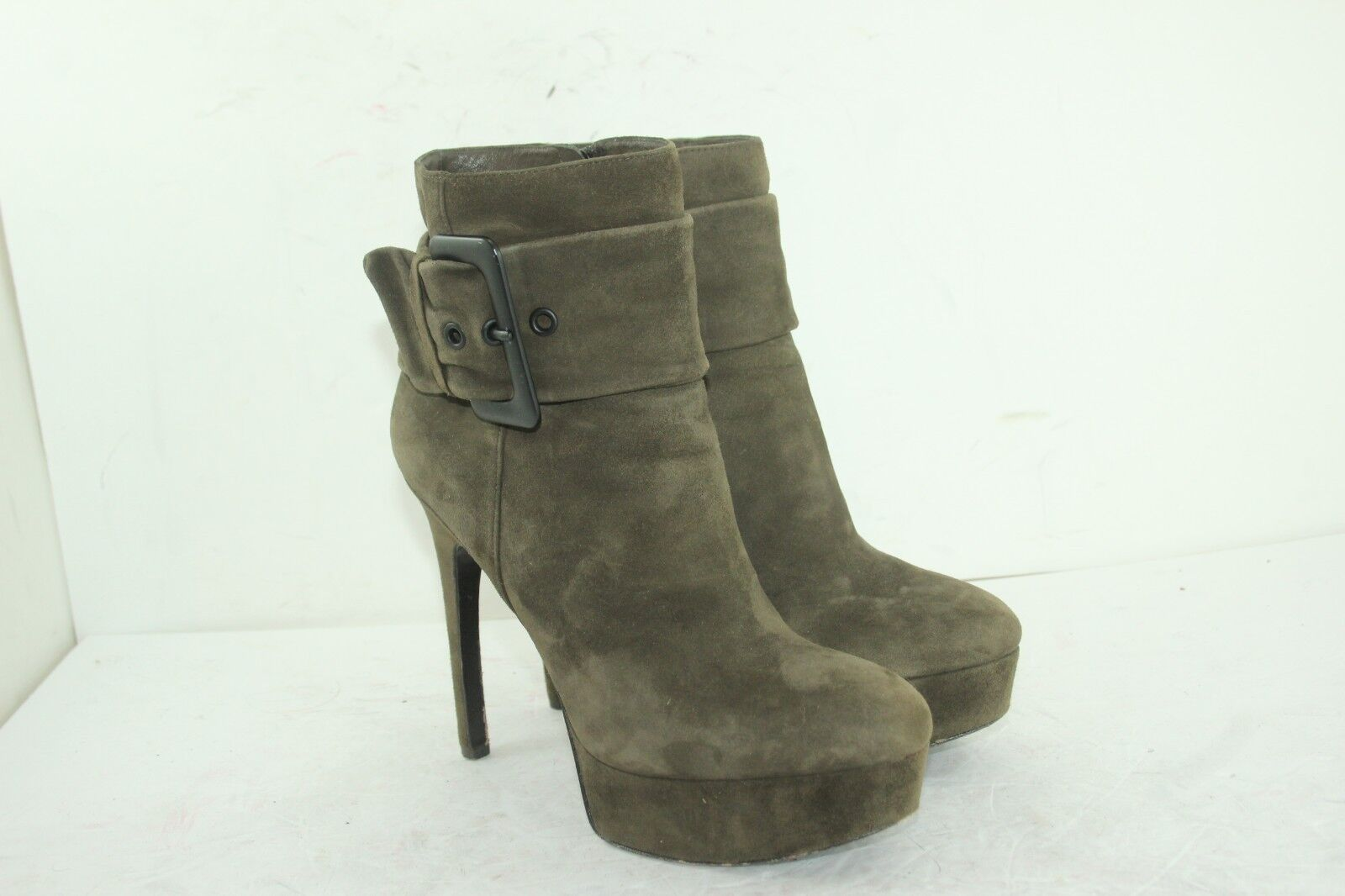 VIA SPIGA BOOTIES SZ 8 LEATHER SUEDE GREEN IN GREAT CONDITION