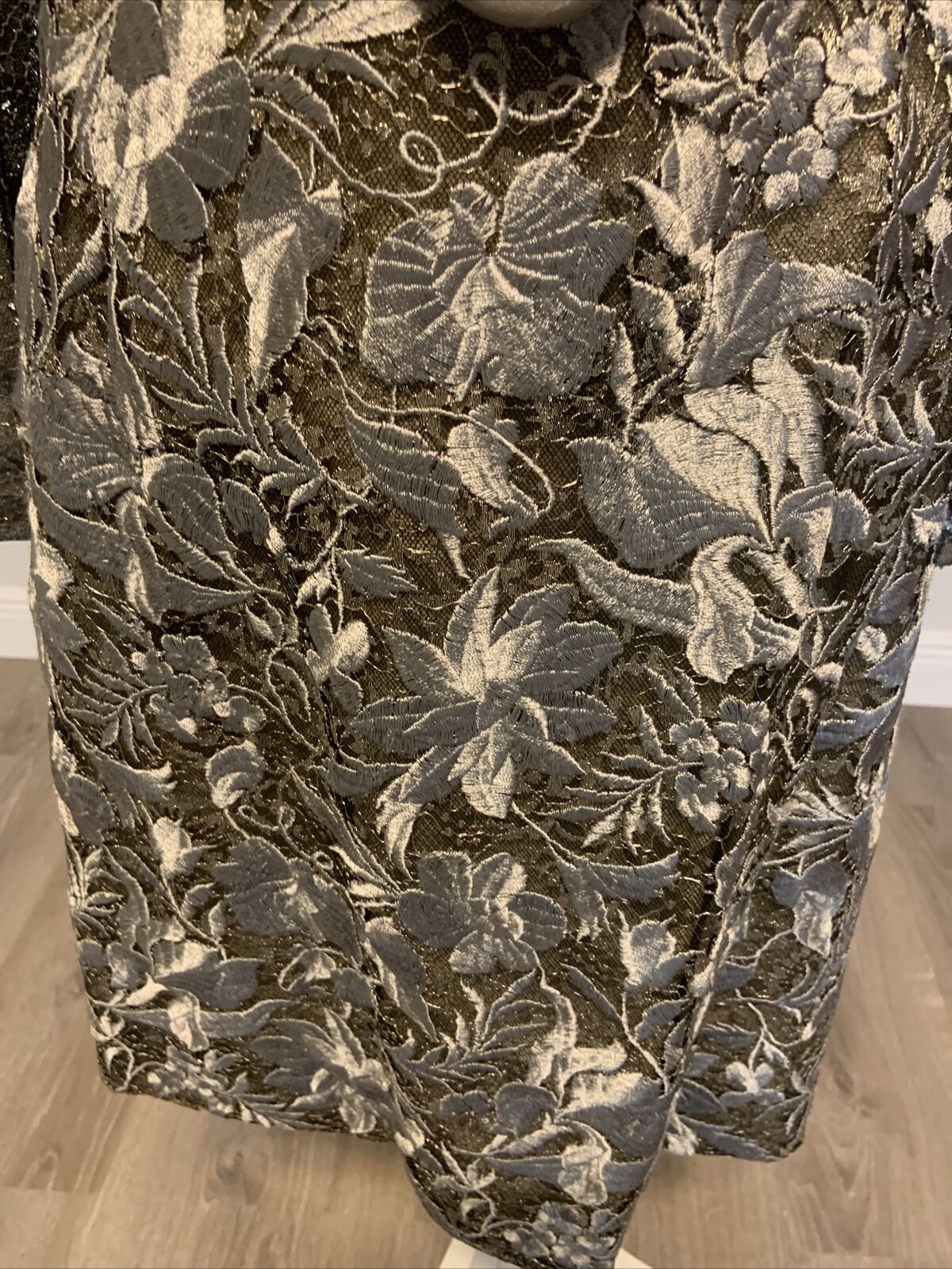 Arnold Scaasi Vintage Couture Silver Lace Dress w… - image 10