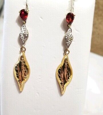 Kay Jewelers Jared 10k Yellow White Gold Red Garnet Diamond Dangle Earrings Ebay