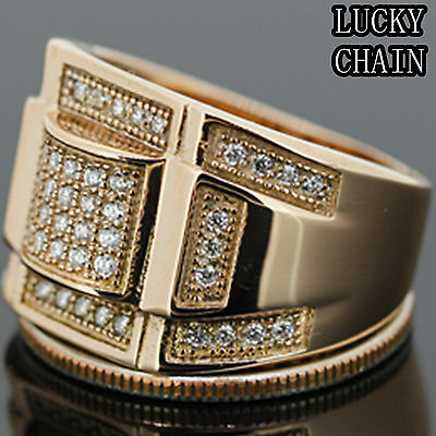MEN`S STAINLESS STEEL ICED OUT LAB DIAMOND ROSE GOLD RING*10g*G27