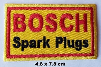 Bosch Spark Plugs Motor Biker Racing Sew//Iron-on Embroidered Patch// Badge// Logo