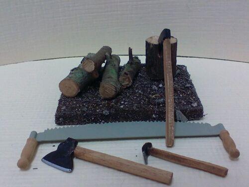 Dollhouse Miniature Wood pile w// logs to split crosscut  saw /& set 3 axe 1:12
