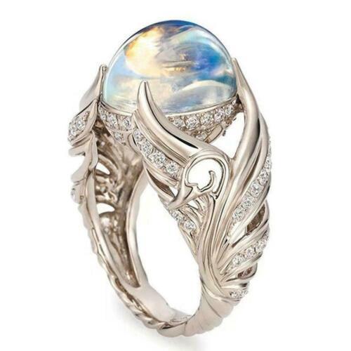 Wunderschöne Silber Ring Engelsflügel Ehering Mondstein Größe Schmuck 6-10 P5D7