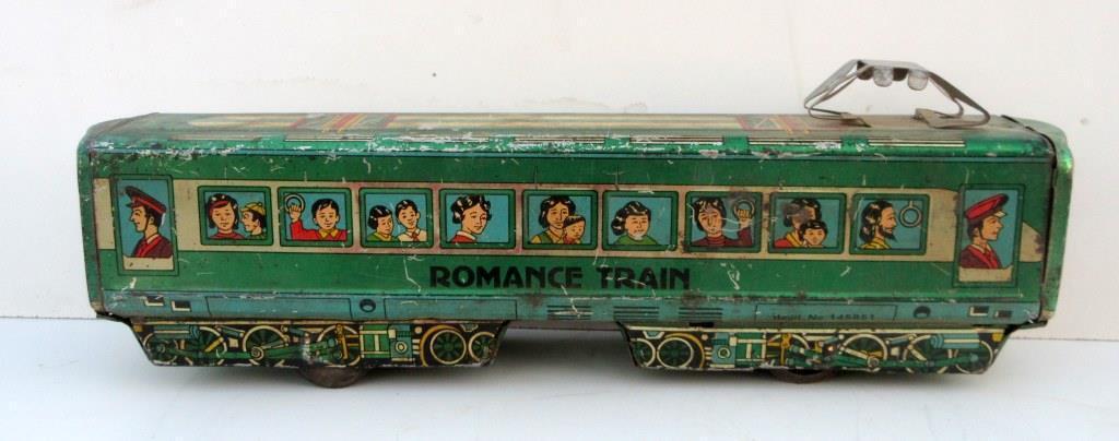 ventas en línea de venta Vintage Antiguo Raro romance tren Regd. No.145851 fricción alimentado Litografía Litografía Litografía de juguete de estaño  Venta barata