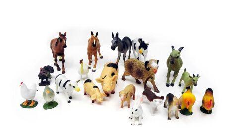 20PC animaux de la ferme School Play chiffres Mouton Vache Cheval Chèvre lapin renard chien