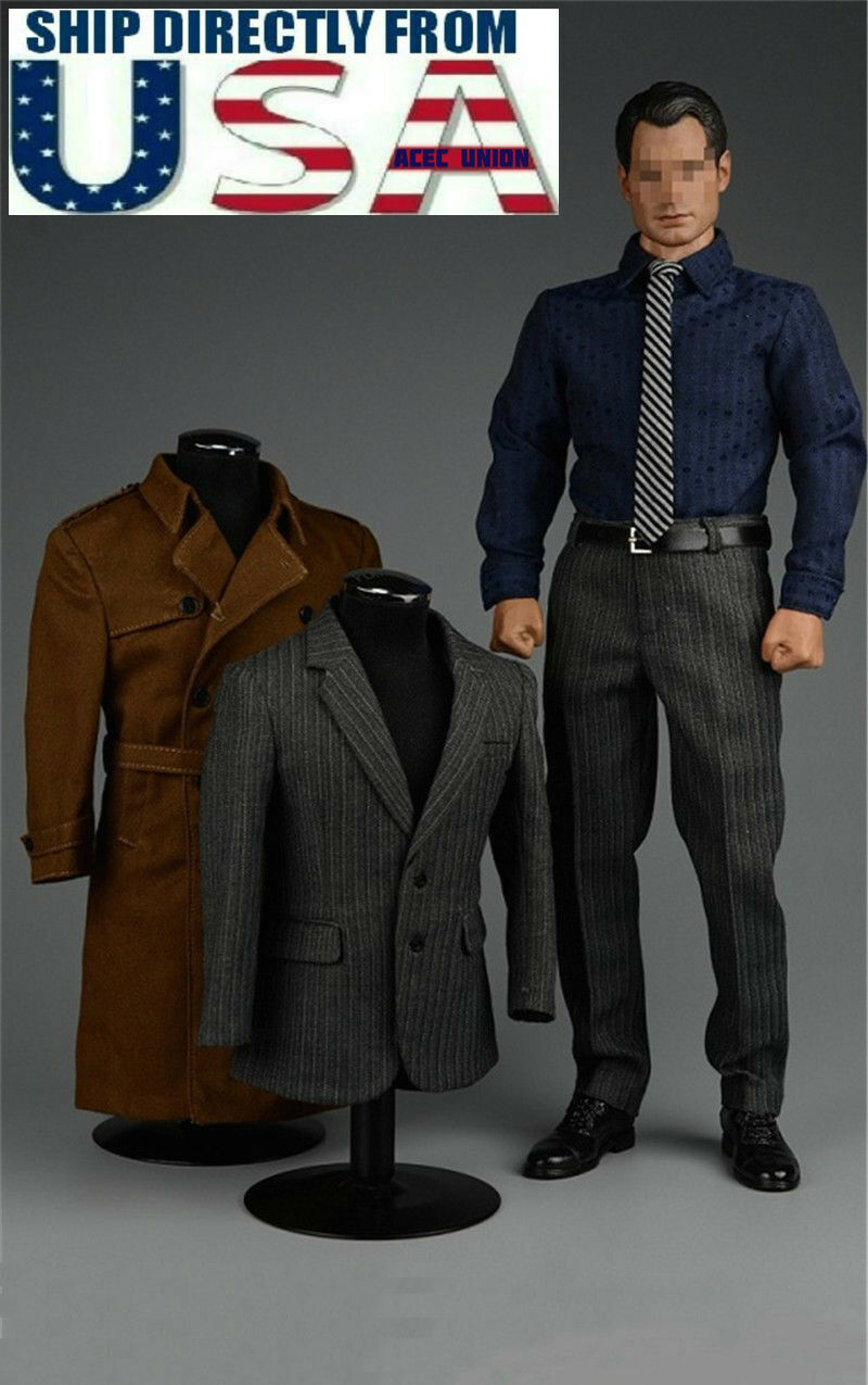 1 6 James Bond 007 Agent Suit Trench Coat Set For HotToys Phicen Male Figure USA
