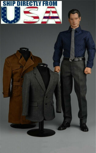 1//6 James Bond 007 Agent Suit Trench Coat Set For HotToys Phicen Male Figure USA