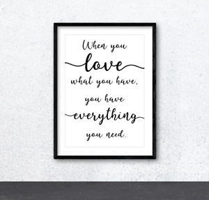 When You Love Typography Inspirational Wall Art Print Poster Home Decor Family