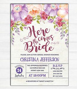6f488044134 Image is loading Floral-BRIDAL-SHOWER-Invitation-Watercolour-Flowers-Invite -Hens-
