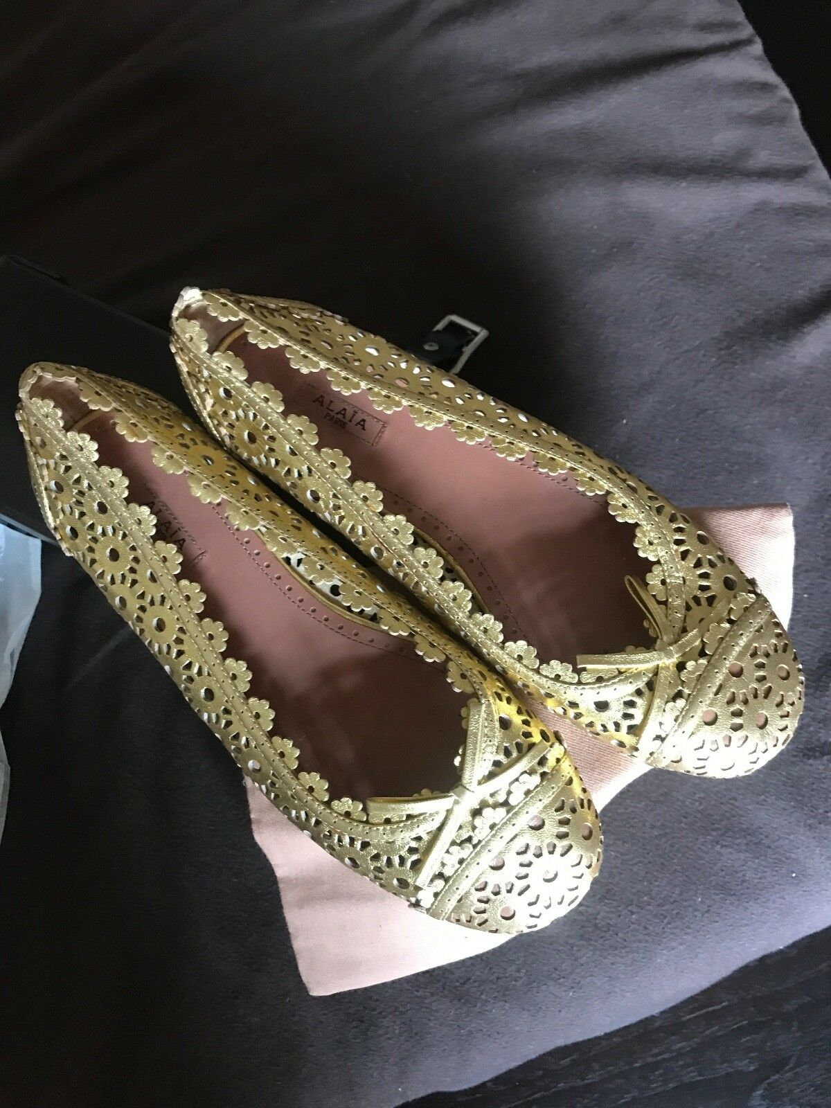 Alaia gold Lace Leather Flats Flats Flats 37.5 b36313