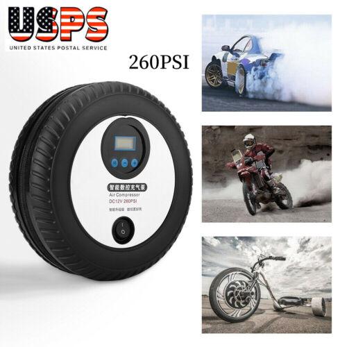 260PSI 12V Portable Eletric Mini Tire Inflator Pump Air Compressor for Car Auto