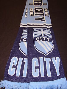 MANCHESTER CITY SUPPORTERS SCARF  NEW UK FLAG DESIGN.EASTLAN<wbr/>DS  .FREE POST