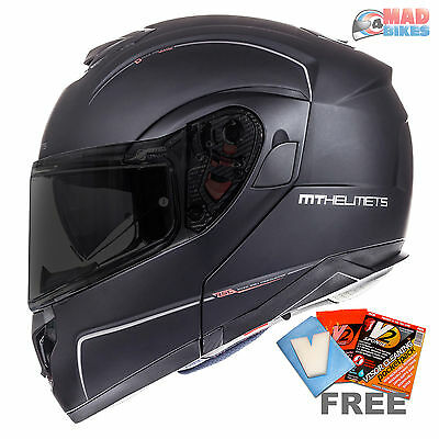 MT Flux SV Solid Mens Flip Up Motorcycle Motorbike Helmet Gloss White