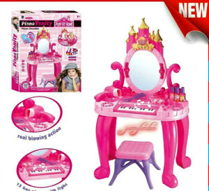 Girl Vanity Table Children Kid Dressing Mirror Make Up Desk Toy Play Set