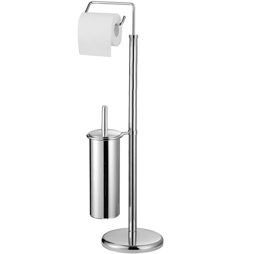 Metall Badezimmer Toilettenrollenhalter und Bürstenset - Silber ZPH1600113