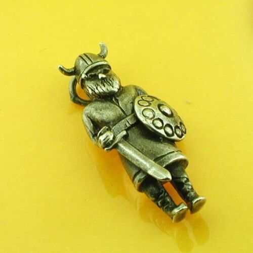 Viking Warrior with Sword and Shield Silver Vintag